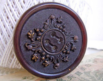 """Vintage Large 1.625"""" Black and Brown Sewing Button with Stamped Brass Center"""