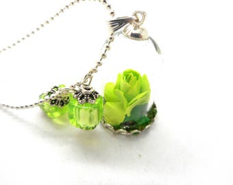 Silver glass Green Flower necklace