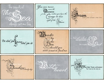 ATC Beach inspired sayings. Digital download