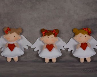 Felt Angel with heart, Valentine's day gift, cristmas ornaments, angel girl