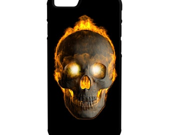Flaming Skull iPhone Galaxy Note LG HTC Hybrid Rubber Protective Case