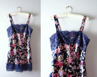 Vintage Slip Dress Chemise | 1990s Vanity Fair Blue Floral Chemise M | 90s Fashion Lingerie