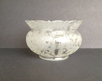 "Vintage White Frosted Ruffled Top Glass Globe Light Shade Etched Lacey Ivy Leaf and Floral Design 4"" Fitter 4 3/4"" Tall"