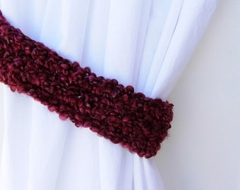 One Pair of Dark Wine Red Curtain Tiebacks, Burgundy Curtain Tie Backs, Drapery Drapes Holders, Soft Crochet Knit, Ready to Ship in 2 Days