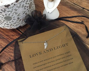 Love and Light Angel Wing Pendant Necklace - Inspirational Keepsake Gift For Her with FREE UK DELIVERY