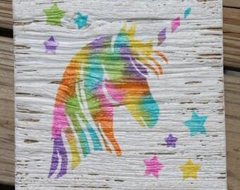 Unicorn nursery sign, unicorn wall sign, unicorn nursery decor, unicorn decor, kid room art, wall decorations, unicorn art, tye dye decor