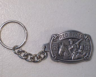 Vintage Old Movie TV Cowboy Red Ryder Pewter Key Chain, New