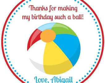 Beach Ball Party Favor Tags - Pool Party Favors - Beach Ball Birthday Favors