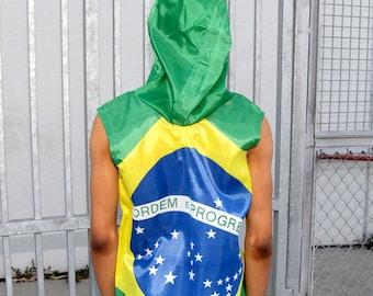 Brazilian Flag Hoodie - windbreaker - flag clothing - mens jacket - coat - vest - upcycled clothing - flag shirt