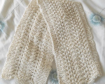 Alpaca/silk mix hand knitted scarf in Debbie Bliss Andes