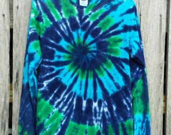 Long Sleeve Tie Dye Shirt,  Plus Size, 2XL 3XL 4XL 5XL, Blue and Green Tie Dye,  Hippie Top, Deadhead, Men's Tie Dye, Women's Tie dye