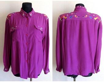 Vintage Purple Embellished Blouse Fashion 80s 90s Women's Blouse Long Sleeve Geometric Embellished Clothing Purple Shirt  L Size