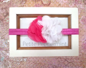 Hot Pink Baby Headband, Baby Flower Headband, Newborn Head Band, Toddler, Girl Flower Headband, Baby Hair Bow, Infant Headband,Girl Hair bow