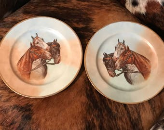 Horse collector plates, set of two, appears hand painted