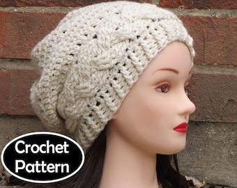 CROCHET HAT PATTERN Instant Pdf Download - Julia Cabled Slouchy Beanie Hat Womens Teen- Permission to Sell English Only