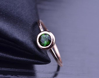 Green Tourmaline Ring in 18k Rose Gold Bezel Setting Engagement Wedding Birthday Anniversary Valentine's