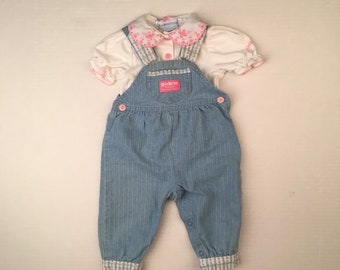 Osh Kosh Light Blue Denim Overalls and Top 3-6 Months Baby Girl White Short Sleeve Shirt 90s pink floral detail collar coveralls
