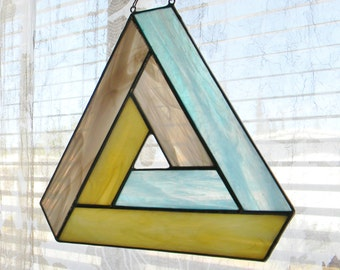 Impossible Geometry Stained Glass Suncatcher, Penrose Triangle in Turquoise, Cream, and Grey - Ready to Ship