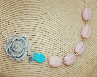 Pink and Gray Flower Necklace with Teal Owl