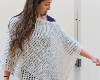 Crochet Poncho Gray  Poncho with a touches of shiny made from soft mohair knitted Poncho Knit Lace Shawl Hand Knit Wrap