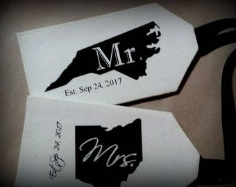 MR. & MRS. - Luggage Tags, Couple Luggage Tags, Custom State Tags, Destination Wedding, Bride and Groom, Just Married, His and Hers