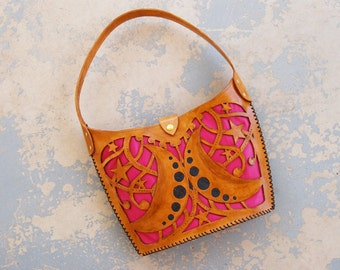 Tooled Leather Purse - Moon and Stars Large Cutwork Brown Leather Shoulder Bag - Custom Made to Order