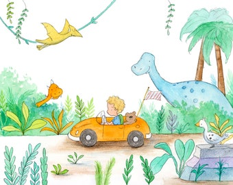 Dinosaur Drive - Curly Blond Boy Driving Car - Art Print - Children