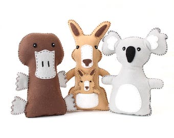 Australian Animal Sewing Patterns, Felt Hand Sewing Patterns for Kangaroo, Platypus, and Koala, Aussie Critters, Plush Koala, Felt Kangaroo