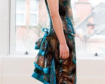 Dress; Alternative bridal or special occasion velvet corset separates, unique brown turquoise Victorian style corset dress, Velvet Tigers UK