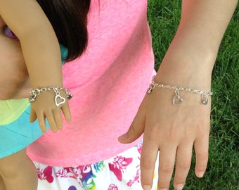 """My doll and me matching heart charm silver plated bracelets for girls and their American Girl doll and/or other 18"""" dolls, Valentine's"""