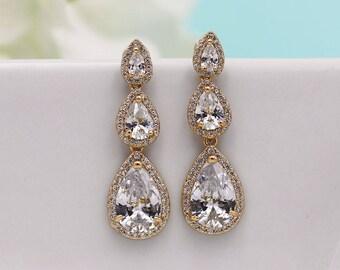 Bridal Earrings Gold, Gold Earrings, Teardrop Wedding earrings, pear cubic zirconia earrings, Three Pear CZ Earrings, Marley Gold Earrings