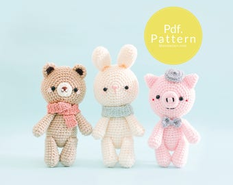 """PDF. PATTERN - """"Dream Team"""" Collection (Set 1: Bear, Bunny and  Pig), Amigurumi pattern, Crochet pattern, Plush pattern, Gifts for Kids."""