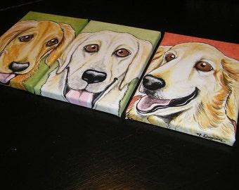 Three Custom Pet Portrait Paintings 5x7