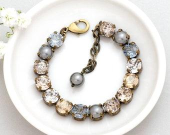 Grey Swarovski Pearl Bracelet, Grey Pearl Jewelry, Swarovski Crystal Bracelet, Rhinestone Jewelry, Nickel Free Bracelet Rhinestone, Dusana