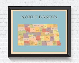 North Dakota Map, North Dakota Poster, North Dakota Print, Map of North Dakota, North Dakota Art, North Dakota Decor, North Dakota, USA, US
