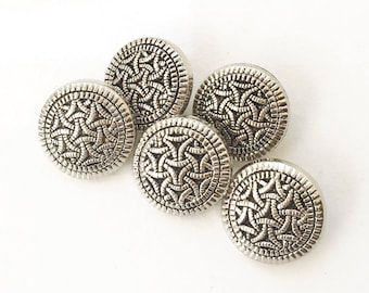 eco friendly ornate silver tone plastic shank buttons--matching lot of 5