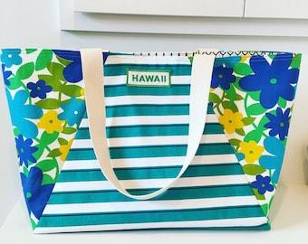 Vintage Hawaii Patch Tote/ Beach Bag/ Market Bag / Travel Bag/ Hawaii