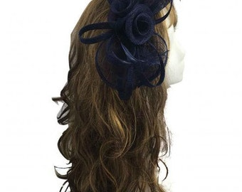Stunning Navy Blue Sinamay Bow and Feathers Hair Fascinator With Headband n Clip
