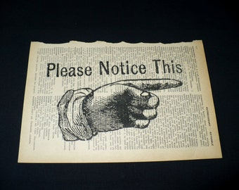 Please Notice This Dictionary Art Print Home Decor Wall Art Vintage Style Book Page Art Pointing Finger Sign