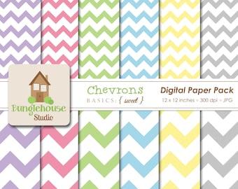 Chevron Digital Paper Pack Instant Download Digital Scrapbooking Basics Sweet Style