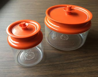 Vintage Orange Tupperware Containers