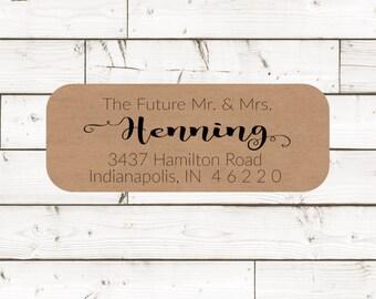 Address Sticker, Return address label, address label, custom address label, brown kraft label, wedding announcements - SET OF 30