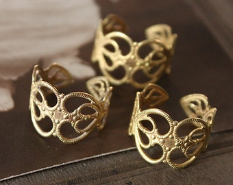 10PCS Adjustable  Raw Brass Rings jewelry  filigree ring (RINGSS-2R)