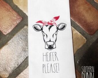 Rae Dunn Inspired Kitchen Towel | Heifer Please Farmhouse Towel | Farm Animal Towel | Bandana Cow Towel | Cute Cow Decor
