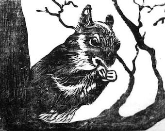 Squirrel Woodblock Print, Handpulled relief printmaking art