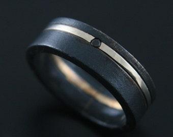 Black Diamond Tuxedo Ring--Black Wedding Band--Mens Black Diamond Ring--Flat Edge Black Diamond Band--Made to Size