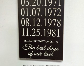 Anniversary date sign little red brick house