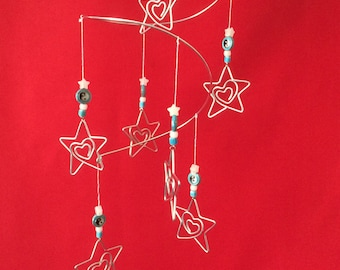 Loving Stars Magical Mobile - Silver Wire, Lovely Beads and 7 Unique Magical Loving Star Charms