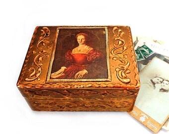 SALE Medieval Woman Florentine Jewelry Box ,Vintage Italian Wedding Ring Box ,Florentine Gilded Wooden trinket box,jewelry carved box .