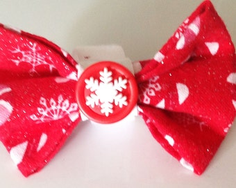 Red Christmas Dog Collar Bow Tie with Candy Canes and Snowflakes